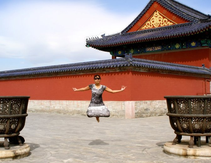 Perfect backdrop for a Buddha jump-shot