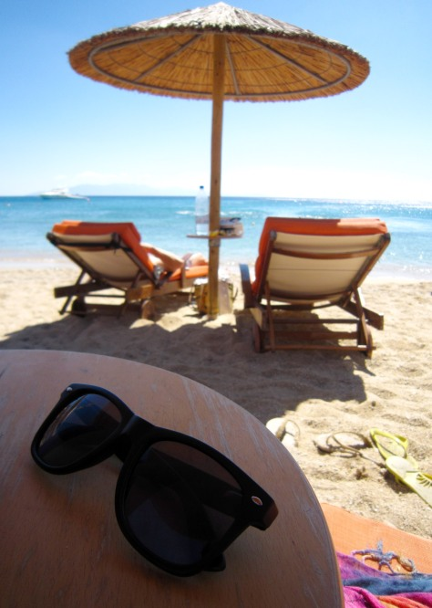 The first of many days of lazing around on the beach. We love the Greek Isles!