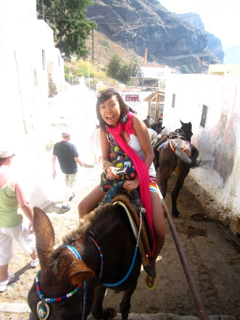 Donkey ride up to Fira