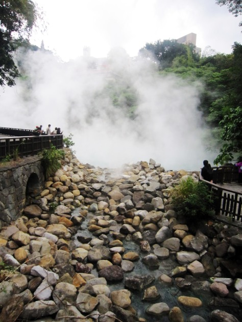 "Hell Valley in Xinbeitou. The name Beitou actually is a Sinicized word for ""witch"", as locals thought the area looked like a smoky witch's cauldron. Well, the town certainly knows how to work its magic."