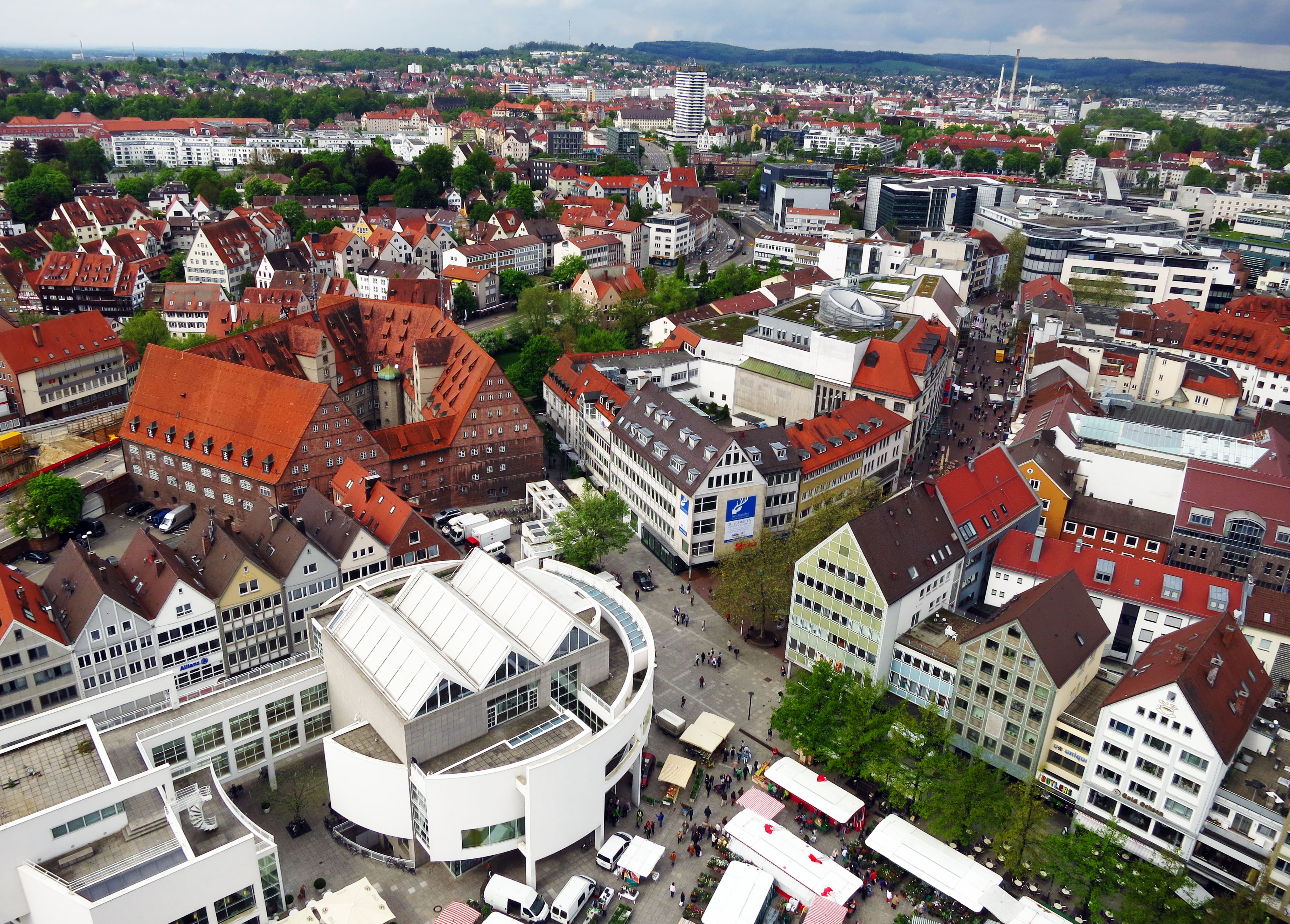 Bird's eye view of the town of Ulm