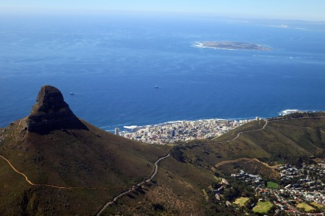 Lion's Head and Robben Island, as seen from Table Mountain