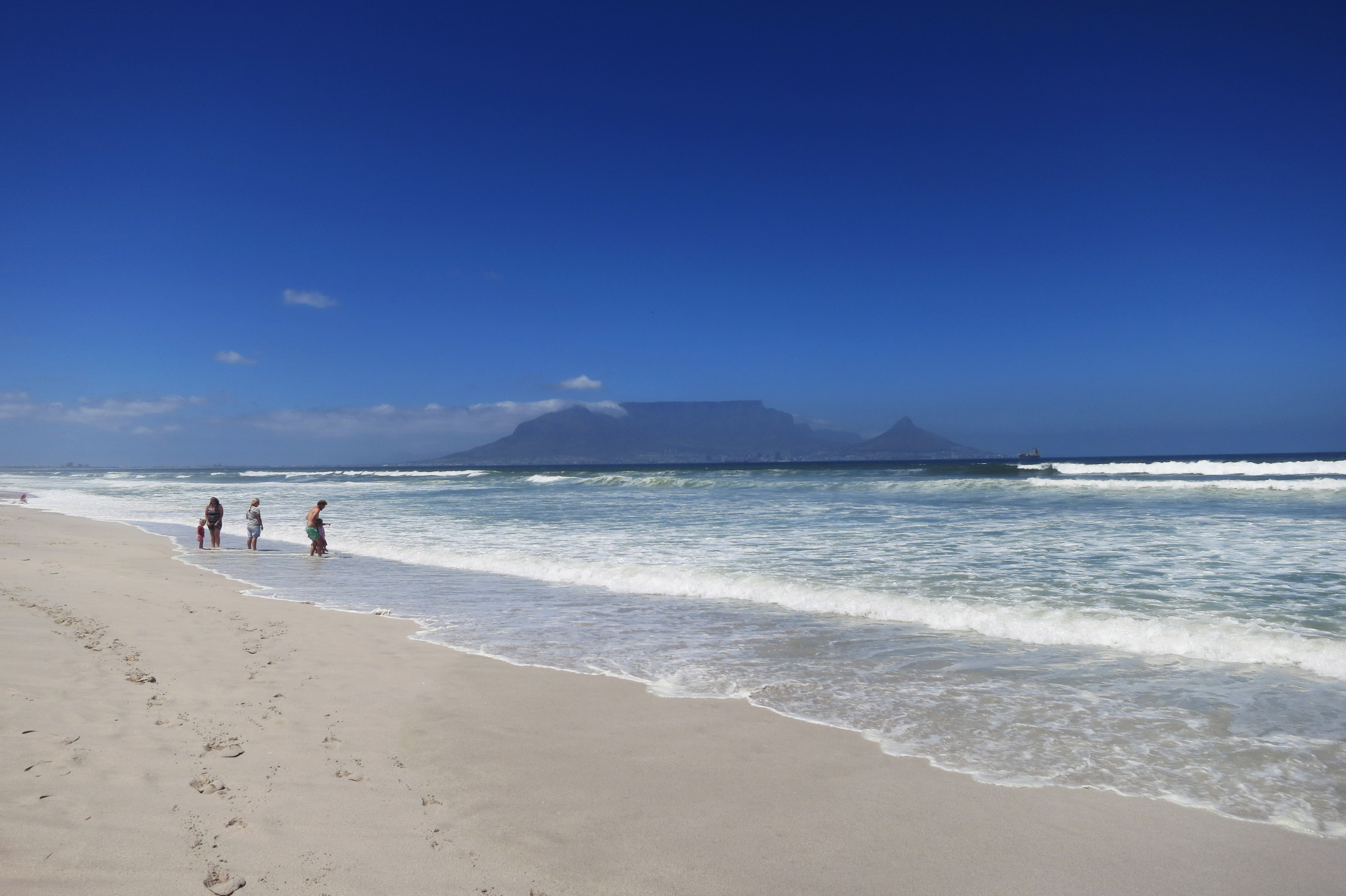View of Table Mountain, all the way from Bloubergstrand Beach across the bay