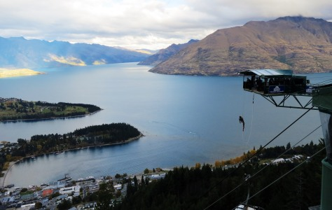 Hanging around the AJ Hackett Bungy Ledge at the Skyline