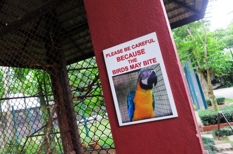A warning by the bird pens at the tiger sanctuary. Oh, the irony.