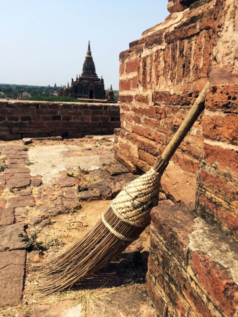 When you're expected to take off your shoes half the time amidst all the dust, then the ubiquitous broom of Bagan is certainly a necessity for locals.