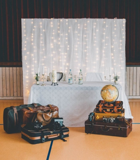 Travel-themed bridal table